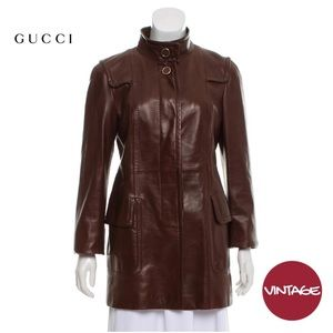 Vintage Gucci Brown Leather Button-up Jacket Coat